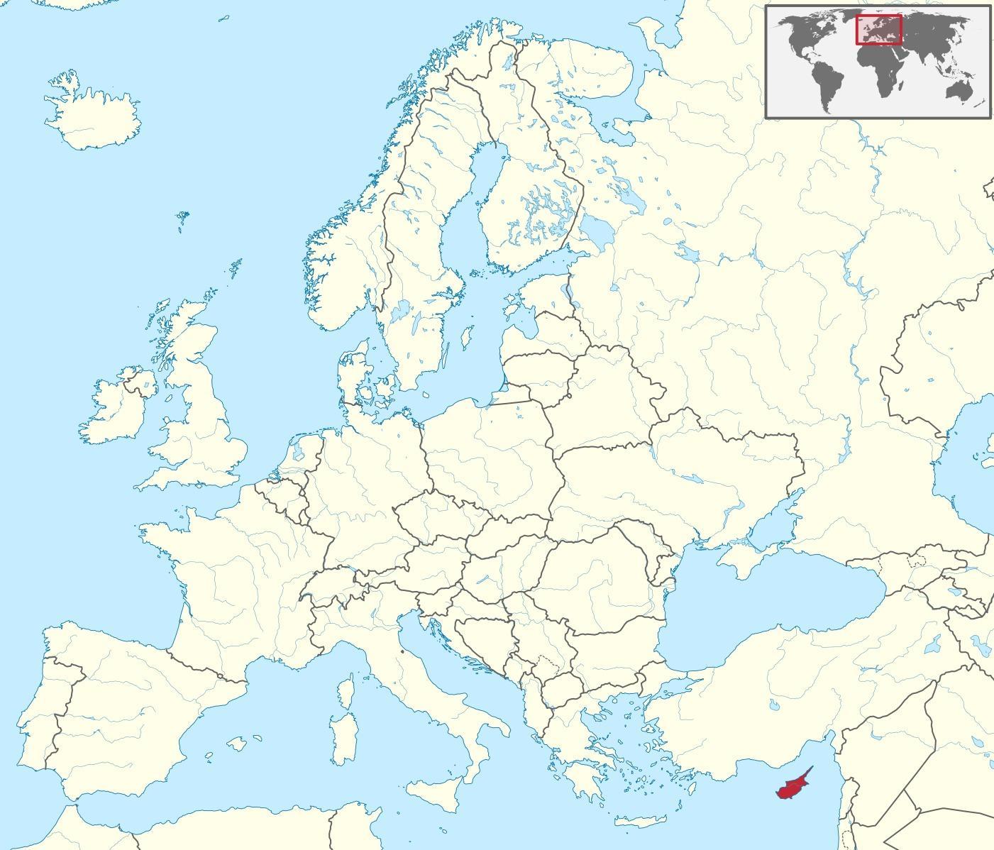 kypros kart Kypros i world map   Kypros kart på verden (Sør Europa   Europa)