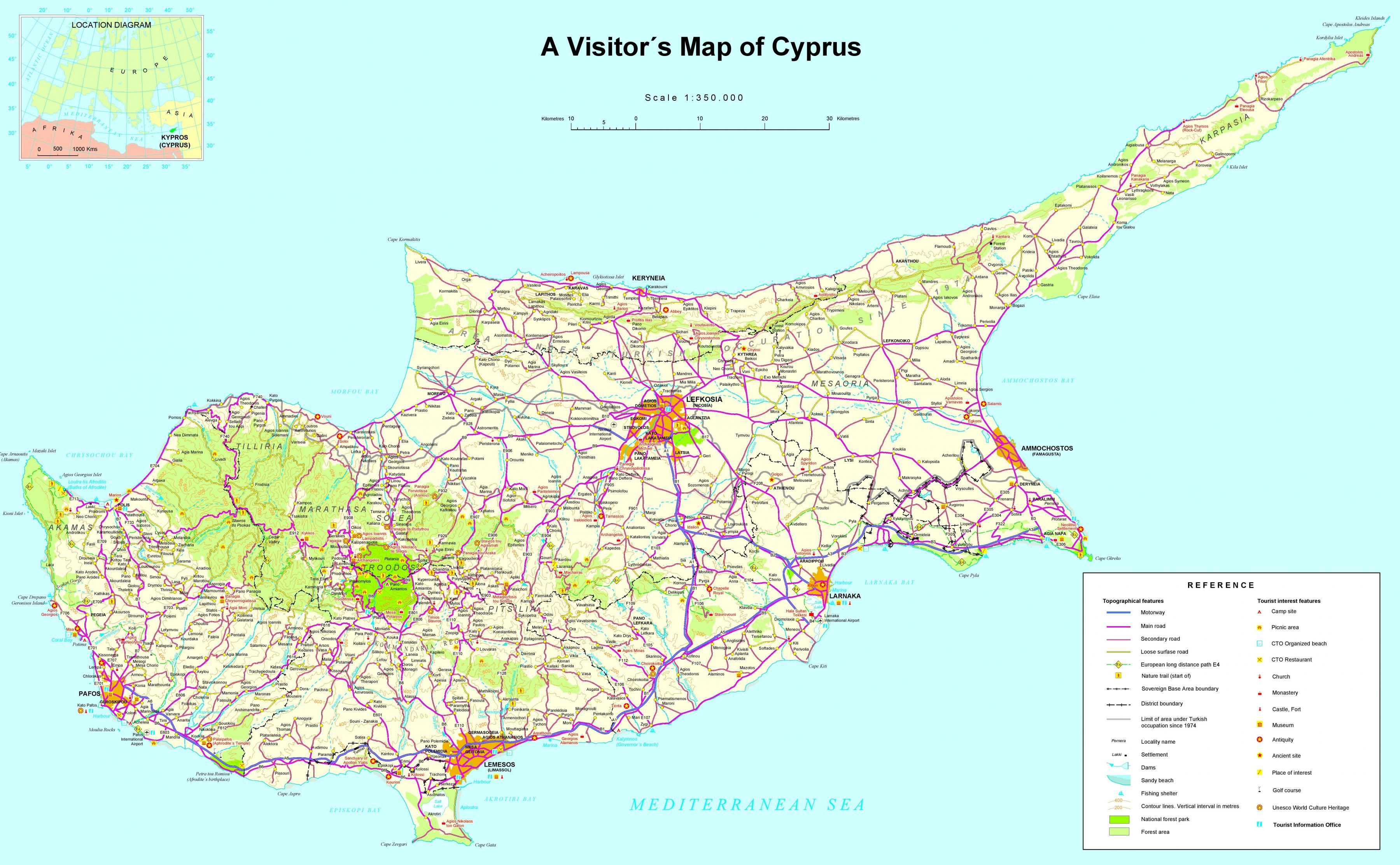 Kypros Turistattraksjonene Kart Kart Over Kypros