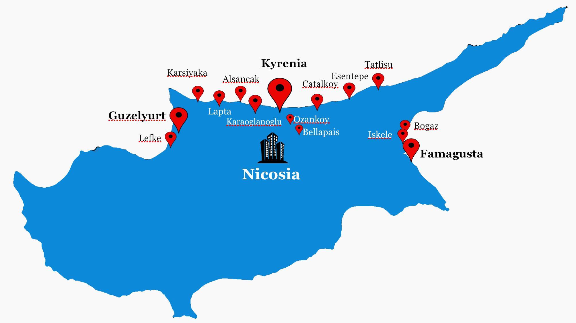 nord kypros kart Nord Kypros kart   Nord Kypros road map (Sør Europa   Europa) nord kypros kart